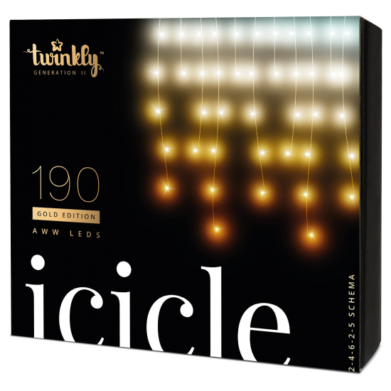 Twinkly Icicle 2 Smart julebelysning 190 LED Gold